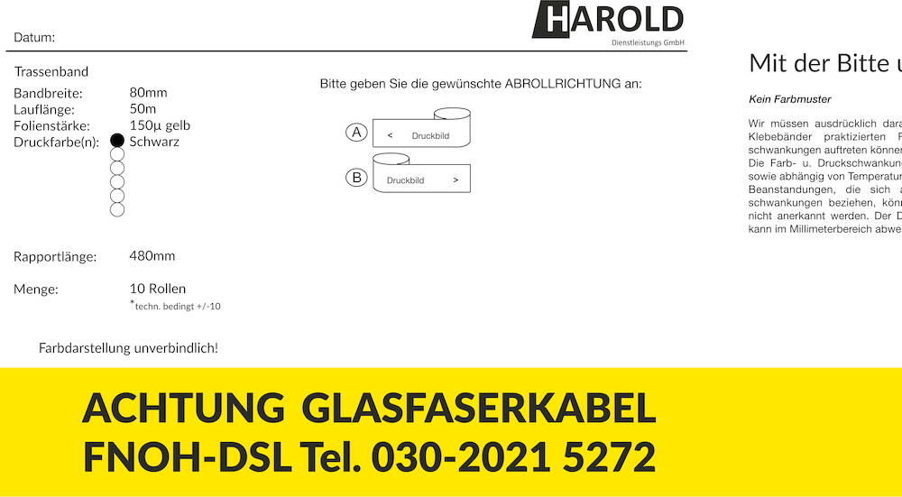Beispiel Korrekturabzug für individuell bedrucktes Trassenwarnband